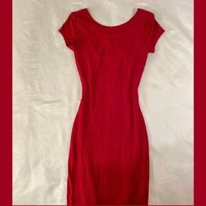 Red Wet Seal Body Con Midi Scoop Neck Dress
